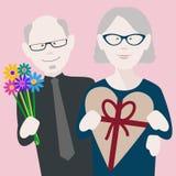 Старшие пары валентинок в любов стоковое изображение