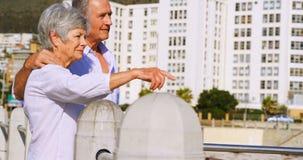 Старшие пары взаимодействуя пока стоящ близко взморье 4k видеоматериал
