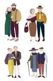 Старшие пары в влюбленности Отношения с постаретыми человеком и женщиной Красочная плоская иллюстрация Стоковое Изображение RF
