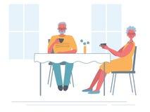Старшие пары в кафе Пожилая женщина и старик сидят на таблице и выпивая чае иллюстрация вектора