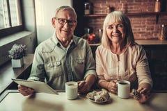 Старшие пары в кухне Стоковое Изображение