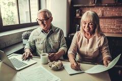 Старшие пары в кухне Стоковое Изображение RF