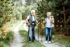 Старшие пары в лесе стоковые фото