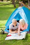 Старшие пары изучая карту на месте для лагеря в парке Стоковые Изображения RF