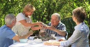 Старшие пары имея завтрак в саде сток-видео