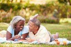Старшие пары имея пикник в саде Стоковые Изображения