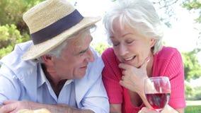 Старшие пары наслаждаясь пикником совместно