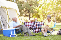 Старшие пары наслаждаясь располагаясь лагерем праздником Стоковая Фотография