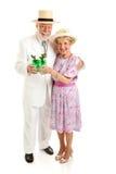 Старшие пары на день Дерби стоковое фото rf
