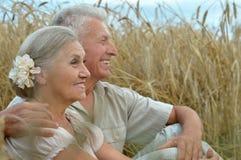 Старшие пары отдыхая на поле лета Стоковое фото RF