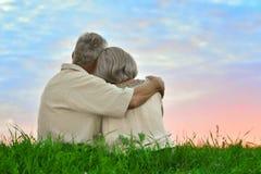 Старшие пары отдыхая на поле лета Стоковое Изображение RF