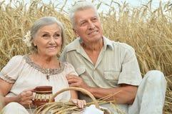 Старшие пары отдыхая на поле лета Стоковое Изображение