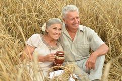 Старшие пары отдыхая на поле лета Стоковое Фото