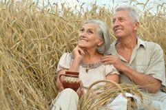 Старшие пары отдыхая на поле лета Стоковая Фотография