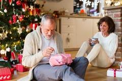 Старшие пары перед рождественской елкой распаковывая настоящие моменты Стоковое Изображение