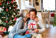 Старшие пары перед рождественской елкой с настоящими моментами Стоковая Фотография RF