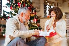 Старшие пары перед рождественской елкой с настоящими моментами Стоковое Изображение RF