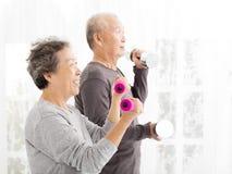 Старшие пары работая с гантелями стоковая фотография