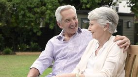Старшие пары сидя на стенде и говорить сток-видео