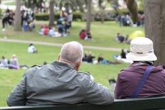 Старшие пары сидя в парке стоковые фотографии rf