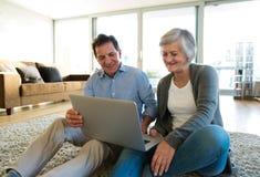 Старшие пары сидя на поле, работая на компьтер-книжке Стоковое Изображение RF
