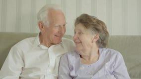 Старшие пары смотря камеру видеоматериал