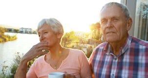 Старшие пары с положением кофейной чашки в балконе 4k акции видеоматериалы