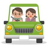 Старшие пары управляя в автомобиле иллюстрация штока