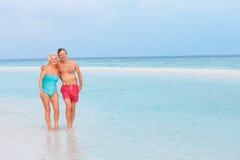 Старшие романтичные пары идя в красивое тропическое море стоковое изображение