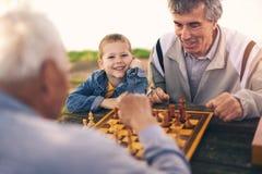 Старшие люди имея потеху и играя шахмат на парке Стоковые Фотографии RF