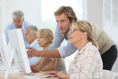 Старшии в вычисляя классе Стоковые Изображения RF