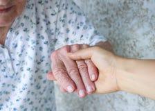 старшии удерживания руки попечителя Стоковое Изображение
