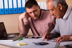 Старший и молодой архитектор работая совместно на проекте в офисе Стоковые Изображения