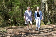 старший пар гуляя Стоковые Фото