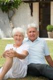 старший пар крупного плана счастливый стоковая фотография rf