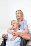 старший пар счастливый дистанционный Стоковые Фотографии RF