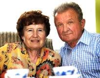 старший пар счастливый усмехнулся Стоковая Фотография RF