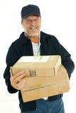 старший работника доставляющего покупки на дом Стоковое Изображение