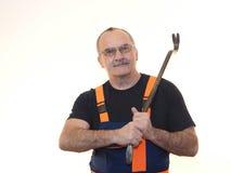 Старший работник с инструментом Стоковое Изображение