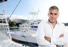 старший рыболова капитана шлюпки Стоковое Изображение