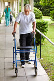 Старший человек на прогулке с ходоком Стоковые Изображения