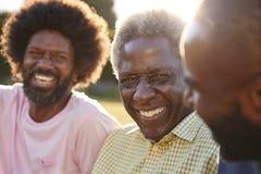 Старший чернокожий человек смеясь с его 2 взрослыми сыновьями, конец вверх стоковая фотография rf