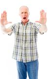Старший человек останавливая с жестом рукой Стоковые Фото