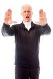 Старший человек останавливая с жестом рукой Стоковое Фото