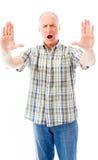 Старший человек останавливая с жестом рукой Стоковое фото RF