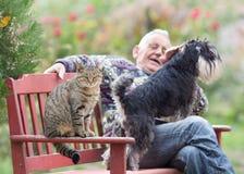 Старший человек с собаками и кошками стоковое изображение