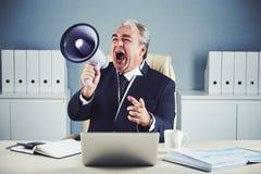 Старший эмоциональный бизнесмен кричащий в мегафон стоковые изображения rf