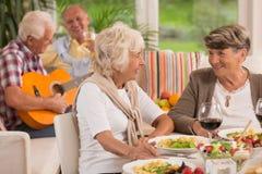 2 старших женщины говоря и выпивая вино Стоковые Фотографии RF