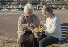 2 старших женщины есть обломоки на стенде outdoors Стоковое Изображение