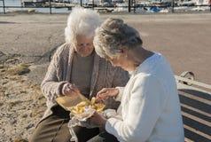 2 старших женщины есть обломоки на стенде outdoors Стоковые Фотографии RF